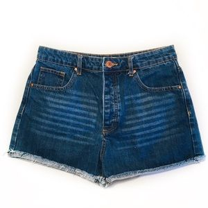 FOREVER 21 Size 27 Dark Denim Shorts Distress Hem